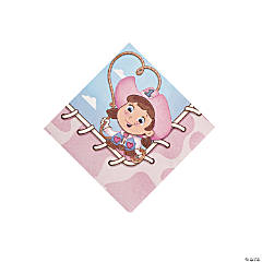 1st Birthday Pink Cowgirl Beverage Napkins