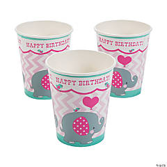 1st Birthday Pink Elephant Paper Cups