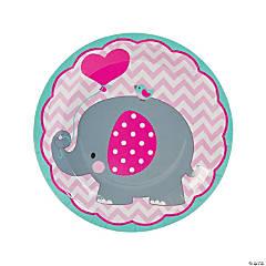 1st Birthday Pink Elephant Paper Dinner Plates