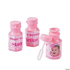 1st Birthday Princess Custom Photo Mini Bubble Bottles