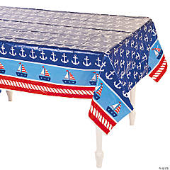 1st Birthday Sailor Plastic Tablecloth