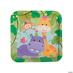 1st Birthday Zoo Square Paper Dinner Plates