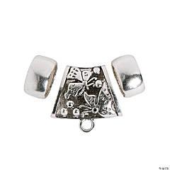 3-Piece Silvertone Scarf Ring Set