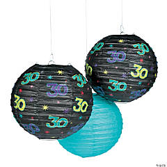 30th Birthday Party Hanging Paper Lanterns