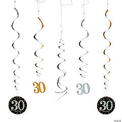 30th Sparkling Celebration Birthday Hanging Swirl Decorations