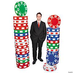 3D Poker Chip Columns Cardboard Stand-Ups