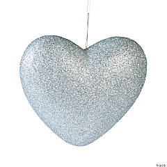 3D Silver Hanging Hearts