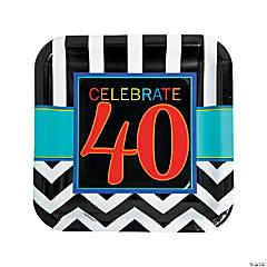 40th Birthday Celebration Paper Dinner Plates