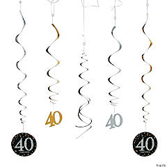 40th Sparkling Celebration Birthday Hanging Swirl Decorations