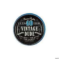 40th Vintage Dude Paper Dessert Plates