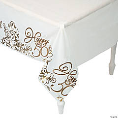 50th Anniversary Plastic Tablecloth