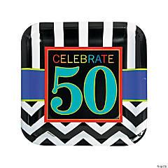 50th Birthday Celebration Paper Dinner Plates