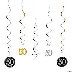 50th Sparkling Celebration Birthday Hanging Swirl Decorations