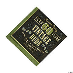 60th Birthday Vintage Dude Luncheon Napkins