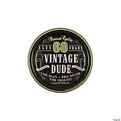60th Birthday Vintage Dude Paper Dessert Plates