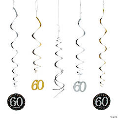 60th Sparkling Celebration Birthday Hanging Swirl Decorations