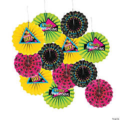 80s Party Tissue Paper Hanging Fans