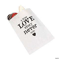 """A True Love Story Never Ends"" Wedding Cake Bags"