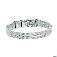 Adjustable Silvertone Mesh Bracelets for Small Slide Charms