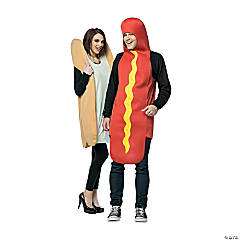 Adult Hot Dog u0026 Bun Couples Costume  sc 1 st  Oriental Trading & Best Couples Halloween Costumes | Oriental Trading Company