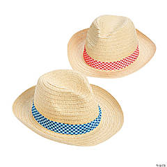Adult's Gingham Band Straw Hats Assortment