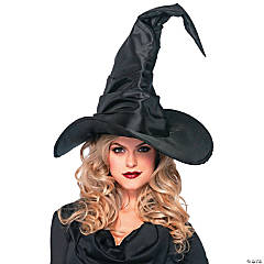 Adult's Large Black Ruched Witch Hat