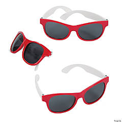 Adult's Red & White Two-Tone Sunglasses - 12 Pc.