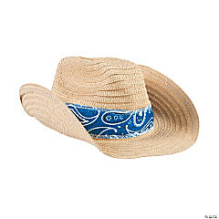 Adult's Western Cowboy Hats with Blue Bandana
