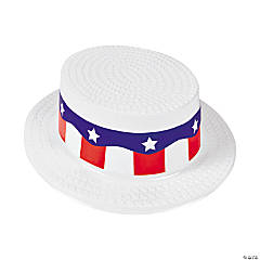 Adult's White Skimmer Hats with Patriotic Band