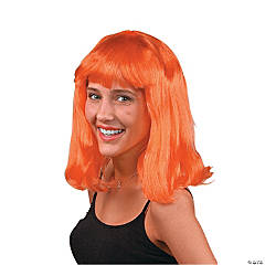 Adult's Neon Orange Pageboy Wig