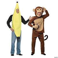 Adult's Banana & Monkey Couples Costumes