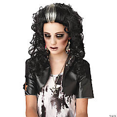 Adult's Black & White Rocked Out Zombie Wig