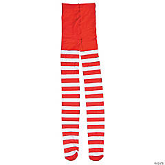 Adult's Candy Cane Red & White Striped Tights