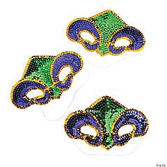 Adult's Fleur De Lis Sequin Masks