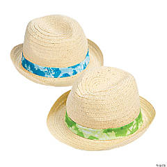 Adult's Tie-Dyed Band Straw Hats