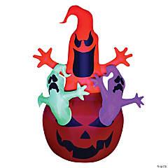 Airblown Pumpkin with Neon Ghosts Halloween Décor