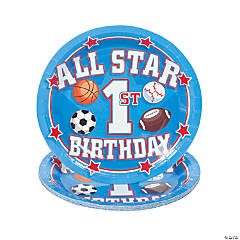 All Star 1st Birthday Paper Dessert Plates