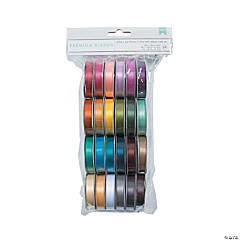American Crafts Solid Satin Ribbon 24pc Assortment
