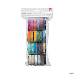 American Crafts Solid Sheer Ribbon 24pc Assortment