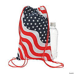 American Flag Drawstring Backpacks