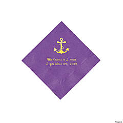 Amethyst Anchor Personalized Napkins with Gold Foil - Beverage