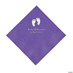 Amethyst Baby Feet Personalized Napkins with Silver Foil - Luncheon