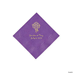 Amethyst Bouquet Personalized Napkins with Gold Foil - Beverage