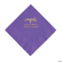 Amethyst Congrats Personalized Napkins with Gold Foil - Luncheon