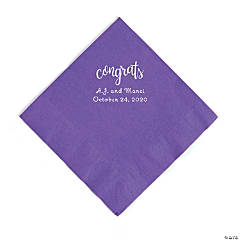 Amethyst Congrats Personalized Napkins with Silver Foil - Luncheon