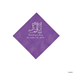 Amethyst Cowboy Boots Personalized Napkins with Silver Foil - Beverage