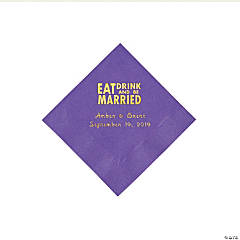 Amethyst Eat Drink & Be Married Personalized Napkins with Gold Foil - Beverage