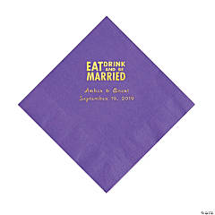 Amethyst Eat Drink & Be Married Personalized Napkins with Gold Foil - Luncheon