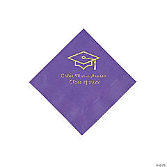 Amethyst Grad Mortarboard Personalized Napkins with GOLD Foil – Beverage