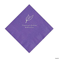 Amethyst Heart Leaf Personalized Napkins with Silver Foil - Luncheon